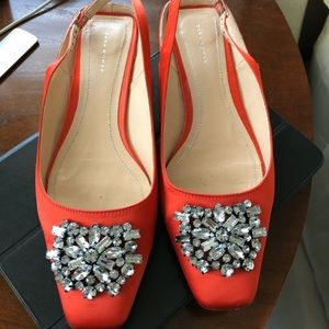 Zara orange satin ballet flats size 39